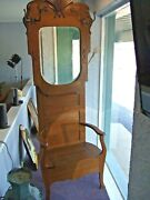 Antique Oak Hall Tree Entryway Coat Stand W/ Beveled Mirror And Storage- Ca.1890's