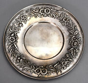 S. Kirk And Son Sterling Silver 10 Plate 727 W/ Floral Repousse Border 10.52 Ozt