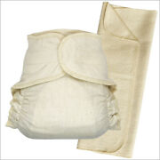 Hook-and-loop Cotton Fitted Cloth Diapers With Diaper Booster Pads Set For Baby