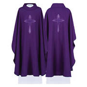 Purple Liturgical Priest Clergy Chasuble Vestment And Stole Embroidered Cross