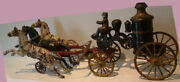 C1910 Hubley Cast Iron Fire Engine Drawn By 3 Horses