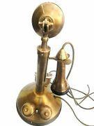 Antique / Vintage Look Brass Candlestick Telephone Rotary Candlestick Phone
