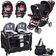 Baby Girls Combo System Nursery Center Twins Double Stroller 2 Infant Car Seats