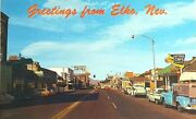 Elko Nevada Signs Cars Stores Street View 1960and039s Old Vintage Postcard A24