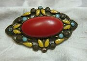 Victorian Art Nuevo Style Brass And Enamel Broach With Large Cabochon Stone