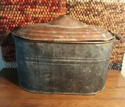 Antique Still Copper Boiler W Converted Lid Wooden Hand Grips Handle 16x13x26