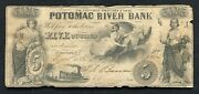 1855 5 Potomac River Bank Georgetown D.c. Obsolete Currency Note