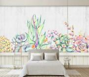 3d Watercolor Succulent Wallpaper Wall Mural Removable Self-adhesive Sticker 26