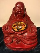 Vintage Large Chinese Lucky Happy Laughing Buddha Good Luck Statue Rare