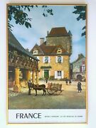 Vtg Mid Century Perigord France Lithograph Print Framed Collector Travel Poster