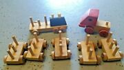Vintage-wooden Blocks Train And Truck Set- 44 Pc 7 Cars Wooden Wheels Childrens