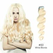 16-30 Wavy Weft Womens Remy Human Hair Extensions Body Tape In Skin 20pcs 60g