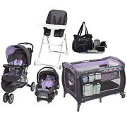Baby Trend Combo Travel System Stroller Car Seat Playard High Chair Diaper Bag