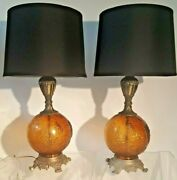 Pair Of Vintage Grape Amber Glass Globe Ball Lamps