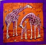 Nwt Hermes Cashmere And Silk Shawl Les Girafes 140 Cm 54andrdquo Orange And Violet Dallet