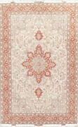 New Signed Wool And Silk Floral Oriental Area Rug Hand-knotted 7x10 Ivory Carpet