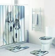 Wolf Shower Curtain Wildlife Animal Waterproof Polyester Fabric Bath Mat Pad Set