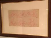 Mickey Mouse Story Board Production Drawing C. 1935 Disney Mat And Framed