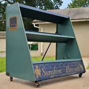 Antique Loose-wiles Sunshine Biscuits General Store Display Rack Cart On Wheels