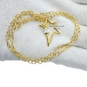 14k Yellow Gold Star Carabiner Lock Oval Necklace White Topaz Baguettes Jewelry