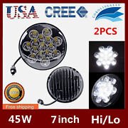 2x7inch 45w Round Led Light For Bulbs Clear Sealed Hi/lo Beam Cars Boat Headlamp