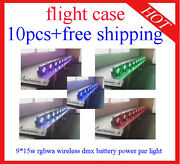 915w Rgbwa 5 In 1 Wireless Battery Led Par Stage Light Uplights 10pcs With Case