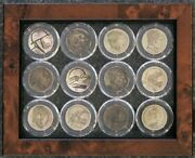 Hobo Nickel 12-piece In A 5 X 6 Sealed Between 2 Glass Frames And Weighs 1 Lb.