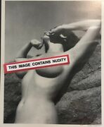 Signed By Bunny Yeager Bare Breasts On Beach Obscured Face Vintage Pinup Photo