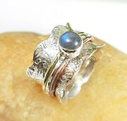 Fidget Spinning Ring Sterling Silver Labradorite Ring Thumb Band - Any Size