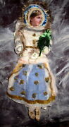 Old Large Cotton Figurine-doll- /girl -christmas Ornament -tinsel-germany