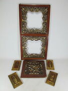 6 Antique Chinese Gilt Carved Wood Panels D9968