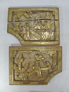 2 Antique Chinese Gilt Carved Wood Panels D9980