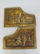 2 Antique Chinese Gilt Carved Wood Panels D9981