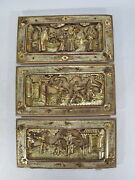 3 Antique Chinese Gilt Carved Wood Panels D9990
