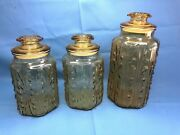 Vintage L. E. Smith Imperial Amber Glass Atterbury Scroll Canister Jar Set Of 3