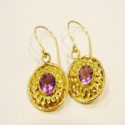22k Solid Yellow Gold Purple Amethyst Hand Made Earrings Vintage Collectible
