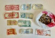 Lots Old Vintage Coins And Paper Money From Around The World - As Is