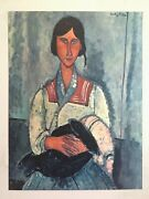 Amadeo Modigliani Rare Vtg Mid Cent Lrg Litho Print Gypsy Woman With Baby 1919