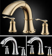 Bathroom Basin Sink Tap Mixer Brass Bathtub Pull Out Faucet Deck Mounted Handles