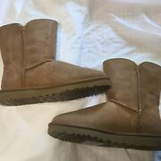 Ugg Australia Bailey Button Suede Fur Boots Womens Size 7 New