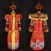 Pure Handmade Qing Dynasty Embroidery Red Queen Dragon Robe Cloth And Crown