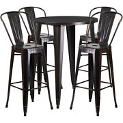 30and039and039round Black Antique Gold Metal Outdoor Restaurant Bar Table Set W/4 Barstool