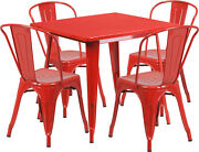 31.5and039and039 Industrial Red Metal Indoor-outdoor Restaurant Table Set W/4 Chairs