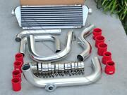 Polished Piping S/rs Flange + Intercooler + Red Coupler Kit For 94-01 Integra