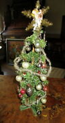 Antique Christmas Feather Tree ,glass Items, Tinsel, Germany