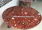 Round 36 Marble Dining Table Top Red Luxury Agate Led Table Top Hallway Decor