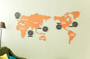 Diy Eco Color Wood Board Big World Map Time Non-ticking Silent Orange Wall Clock