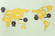 Diy Eco Color Wood Board Big World Map Time Non-ticking Silent Yellow Wall Clock