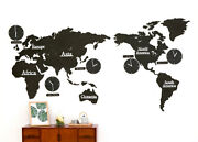 Diy Eco Color Wood Board Big World Map Time Non-ticking Silent Black Wall Clock