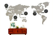 Diy Eco Color Wood Board Big World Map Time Non-ticking Silent Gray Wall Clock